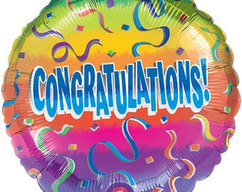 "Colorful Congratulations Balloon 17"" Foil Mylar Graduation Party Decorations Supplies"