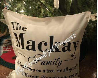 Personalized Family Pillow Cover, Custom Family Pillow Cover, Personalized Family Cushion Cover, Family Name, Family Tree, Name Pillow, Gift