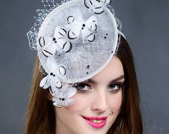 White wedding fascinator hat, white Derby fascinator hat, white fascinator, white Ascot hat- New for 2018