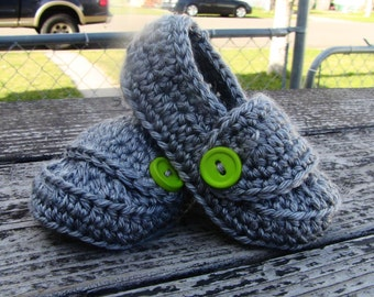Crochet Infant Button Loafers Shoes Baby Booties Gray Green