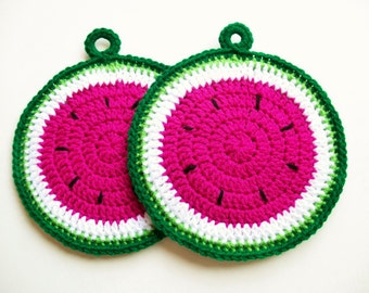 Watermelon Potholders Crochet Watermelon Fruit Slices Country Kitchen Decor Cotton Potholders Housewarming Gift