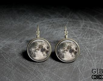 Moon Earrings Full Moon Dangles Jewelry - Full Moon Earrings Moon Gift Jewelry - Full Moon Jewelry Gift Earrings - Full Moon Earrings Gift