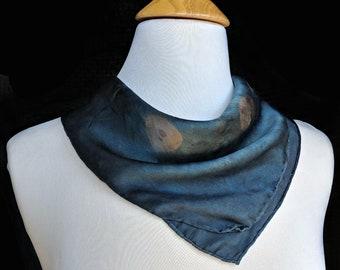 Indigo, Sumac Naturally Dyed Silk Handkerchief. Natural Dye Satin Scarf. Blue Shibori Mini Bandana. Shibori hanky. Approx. 17x17 inch.