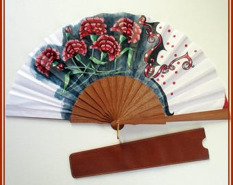 Spanish dance hand fan, carnations hand painted fan, wooden hand fan, folding hand fan, carnations hand fan, flamenco,dance hand fan,present