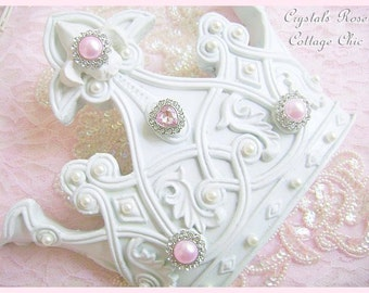 Shabby Chic White Crown Wall Fleur De Lis Decor Pink Bling Romantic Home Decor Girls Room Pink Princess Baby Girl Photo Prop Nursery Crown