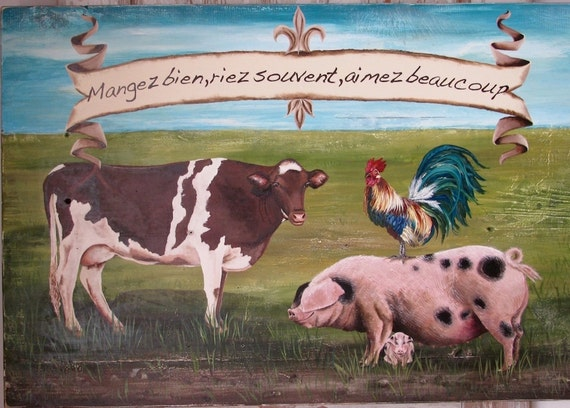 Eat Well, LaughOften, Love Abundently, original acrylic painting on reclaimed wood
