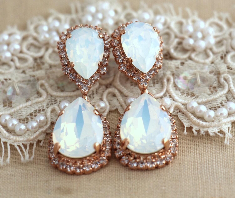 White opal chandelier earrings bridal opal earnings bridal zoom arubaitofo Images