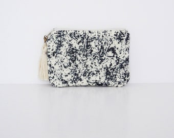 Coin purse in charcoal stains print