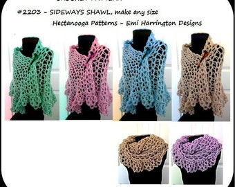 CROCHET SHAWL PATTERN, Women's clothing, cape poncho wrap, make any size, s,m,l,xxxl, works sideways, #2203, crochet for women, sweaters