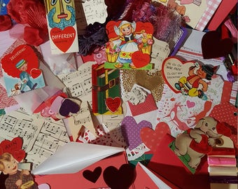 Valentines Junk Journal Kit #6 with Vintage Valentine cards/ Valentines Paper Ephemera, Scrap-booking Embellishment's/ Over 100 pieces
