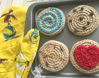 Kids Baking Set, Kids Kitchen Toys, Play Food, Oven Set, Crochet Cookie Set, Oven Mitts, Pretend Play Food, Toddler Toys, Cookie Set,Custom