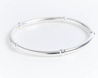 Sterling Silver Large Noodle Bracelet
