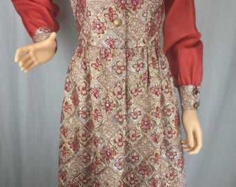 Gorgeous Gold & Rose 1970s Dress