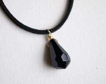 Onyx Drop Black Vegan Choker // Gifts for Her // Vegan Suede Choker // Gemstone Choker // Onyx Point Crystal Choker // Healing Stone