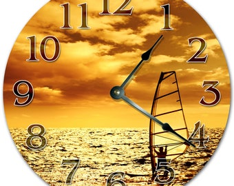 "10.5"" WIND SAILING Clock - ORANGE Clock - Living Room Clock - Large 10.5"" Wall Clock - Home Décor Clock - 4298"