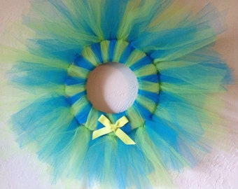Funky Lime Green and Electric Blue Spring/Summer Tulle Wreath