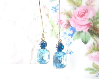 Vintage Aquamarinel Earrings - Vintage Capri Blue Earrings - Long Dangle Earrings - Two Stone Earrings - Garden Wedding