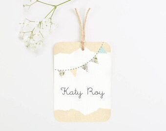 Country bunting luggage tag place card