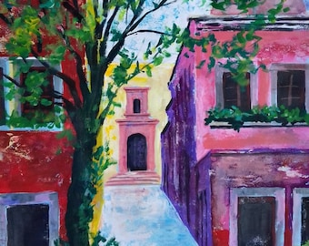 """Original painting of Mexican town southwest hacienda wall art home decor 19.5""""x 27.5"""" acrylic on paper"""