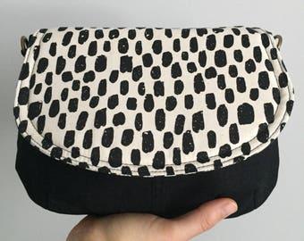 Small Saddle Bag - Black and White Polka Dots