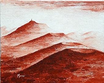 """Monochrome painting - """"10 radio station"""" - Auvergne - Puy de Dome - Clermont-Ferrand-"""