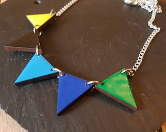 Bunting Necklace, Geometric Necklace, Bunting Jewellery, Geometric Jewellery, Colourful Jewellery