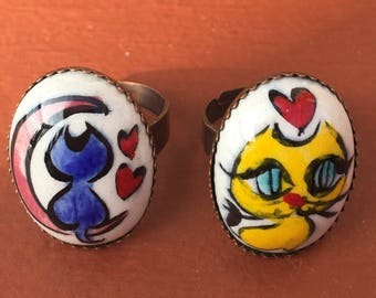 Hand-painted Ceramic Tile Ring (Turkish traditional Iznik tile art)