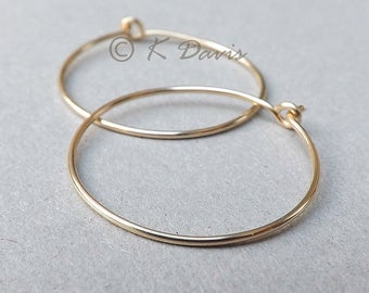 14k Gold Hoop Earrings Solid Gold Hoops, Simple Gold Earrings, Minimal Gold Statement Jewelry, Womens Gift, Custom Jewelry Mother gift