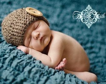 CROCHET PATTERN - Cute as a Button Beanie - crochet hat pattern, preemie hat sizes, crochet tutorial, 10 sizes included, instant download