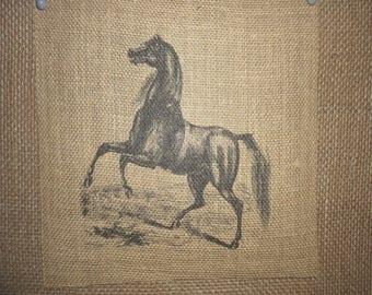 Black Horse Burlap Picture