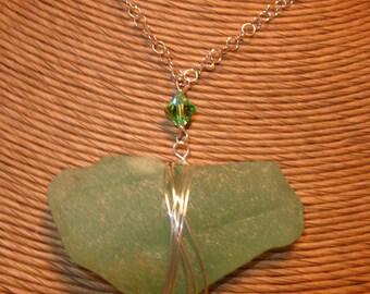 Coke Bottle Green Sea Glass Necklace Swarovski Crystal