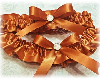 Burnt orange wedding bridal garter set.  Keepsake and Toss burnt orange garters.