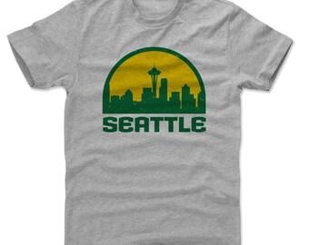 Seattle Supersonics Men's Shirt | Seattle Men's Cotton T-Shirt I Seattle Skyline