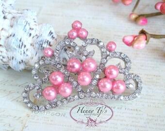4 pcs PINK CORAL Pearls  STUNNING Tiara Crowned Princess crystal Rhinestone Buttons, Crystal Tiara Bow Embellishment