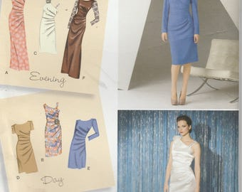 Dress Pattern Evening Gown Off Shoulder, Gathered Side  Misses Size 6 - 8 - 10 - 12 - 14 uncut Simplicity 2053