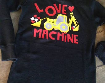 Love machine! Tractor,backhoe, construction, Valentine's, boys top