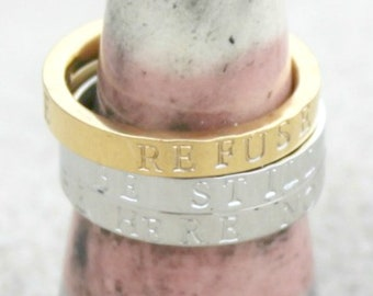 Mantra Ring. Custom Ring. Sterling Silver Ring. Personalized Ring. Your Words Ring. Personalize Ring. Children's Names Ring. Inspirational.