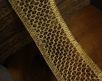 "2-1/2"" Metallic Gold Braid Trim by 2-yards, MAY-DN6759"