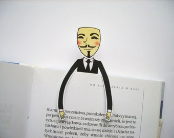 Anonymous bookmark printable instant download hackers Guy Fawkes mask internet birthday gift for him gift for her