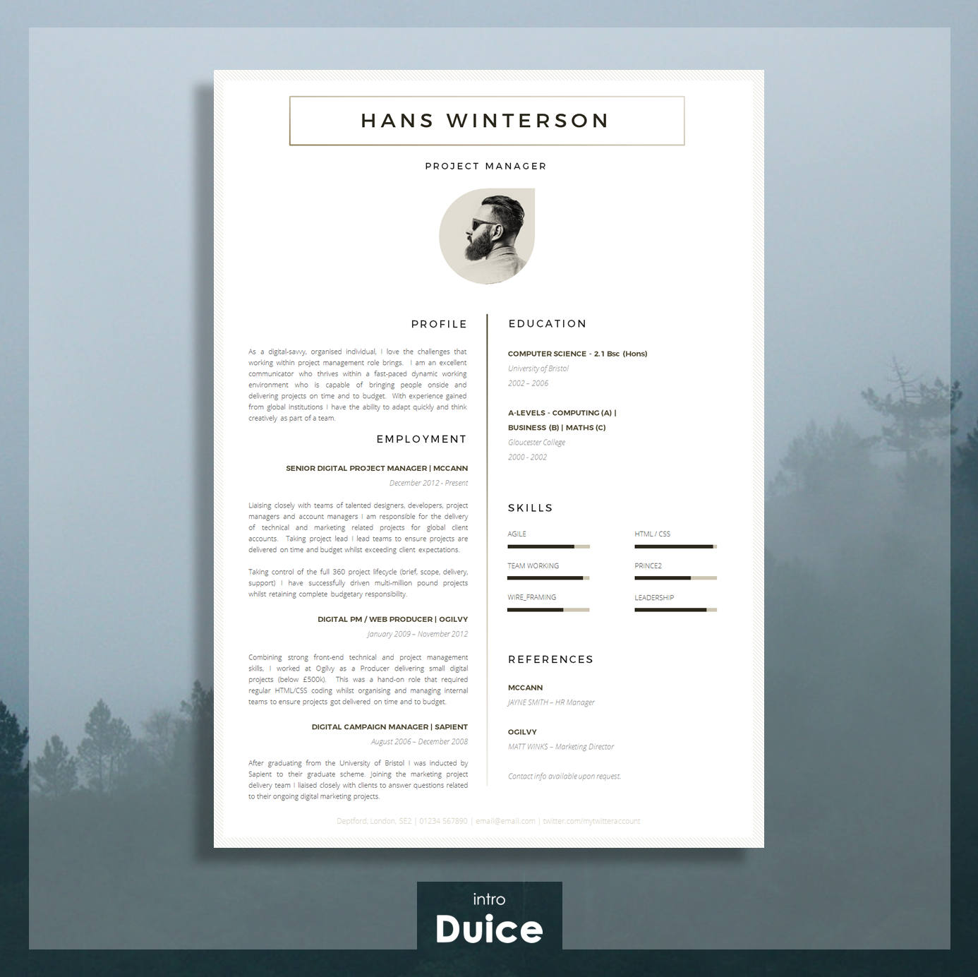CV Template Résumé Template for Word Cover Letter Advice