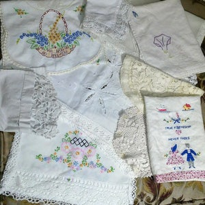 Lot of 10 Pretty Cutter Craft Linens Runner Doily Needlepoint Embroidery Vintage Linen Quilting Sewing Repurposing Shabby Farmhouse Cottage