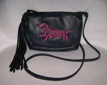 Small Dachshund Cross Body Bag/Pink Embroidery Dachshund Cross body/Purse/Bag ready to ship now!