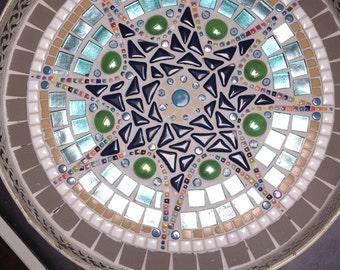 mosaic design bowl,handcrafted metal mosaic tray, mosaic art home decoration, glass mosaics retro tray blue teal indigo, retro glass mosaic