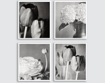 Black and White Flower Prints or Canvas Art Set of 4 Prints, Flower Print, Black and White Art, Bathroom Decor Set, Elegant Silver.
