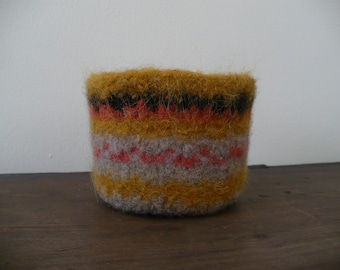 Hand Knit Wet Felted Decorative Bowl
