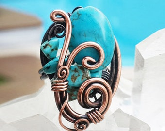 Turquoise Ring, Turquoise Adjustable Copper Wire Wrapped Ring, Turquoise Jewelry, December Birthstone, Gemstone Ring, Statement Ring