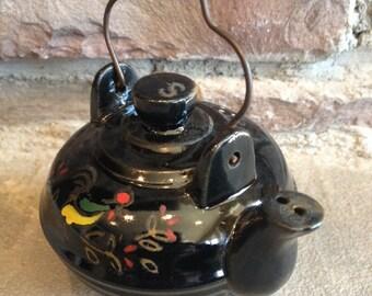 Rooster Teapot Salt Shaker Redware Vintage Figural Tea Pot Kettle Cork Stopper - #3549