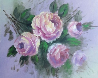 Original Floral Painting; Roses Painting; Acrylic Flower Wall Art on Canvas
