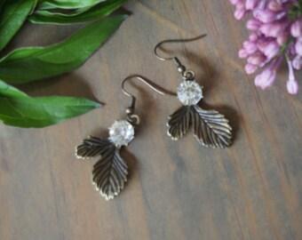 Lovely bronze leaf earings delicate earings dengle earings