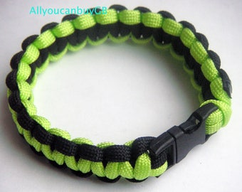 Handmade BLACK-GREEN 550 Paracord Survival Bracelet /wristband